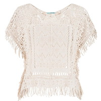 Crochet Cropped Poncho With Fringe - Beige