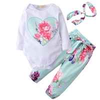 2017 Autumn Style Baby Girl Clothes Newborn Long Sleeved Rompers + Flower Pants+Headband 3pcs Suit Outfits Infant Clothing Sets