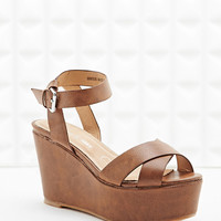 Deena & Ozzy Karly Cross-over Wedges in Tan - Urban Outfitters