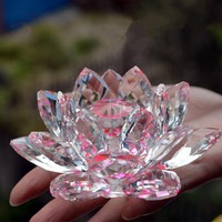 8cm Pink Crystal Lotus Flowers Miniature Feng Shui Glass Crafts With a Gift Box For Delicate Presents Home Decor