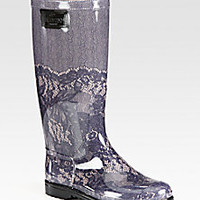 Valentino - Lace-Printed Rubber Rain Boots - Saks Fifth Avenue Mobile