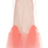 Sleeveless Jacquard and Tulle Short Dress