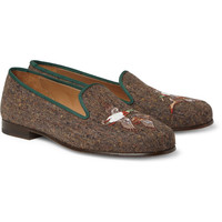 Stubbs & Wootton Embroidered Tweed Slippers | MR PORTER