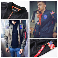 NASA Thin Mens MA1 Bomber Jacket USAF Kanye West Hip Hop Male Windbreaker Jacket Flag Mens Nasa Jacket SMC0296-4.9