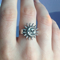 Sun and Moon ring adjustable from sizes 4-10