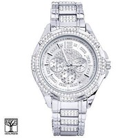 Jewelry Kay style Men's Bling Iced Out CZ Silver Plated Metal Band Watches WM 8252 S