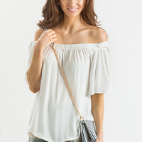 Irene White Off the Shoulder Bow Sleeve Blouse