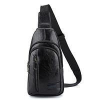 JEEP BULUO New Fashion Men Casual Chest Package PU Leather Aslant Shoulder Bag Black