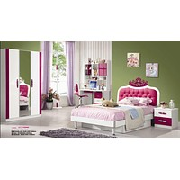 5 Pcs Loft Kids Bedroom Set Table And Chair Wood Kindergarten Furniture - Pink Theme Full bed