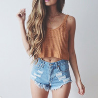 Spagheti Strap Knitted Crop Top