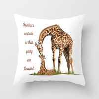 Mothers Giraffe and Calf Throw Pillow by LGD.