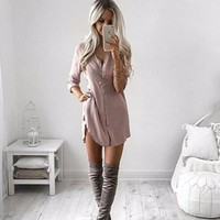 2018 New Women Office OL Shirts Ladies Long Sleeved Casual Party Khaki Black Casual irregular Blouses Tops Blusas Plus size
