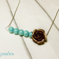 The Turquoise Stardust Beads and Rose Bar Necklace
