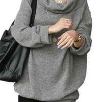 V28Women Cowl Neck Loose Over Size Knit Pullover casual outerwear