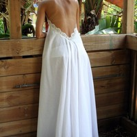 100% Cotton White Backless Nightgown Lace Halter Romantic Bridal Night Gown Bridal Lingerie Christmas Ready to Ship