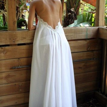 Cotton White Backless Nightgown Lace From Sarafinadreams