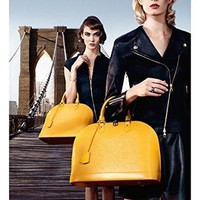 MAGAZINE AD For 2013 LV Yellow Handbags Chic On The Bridge Campaign