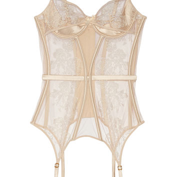 Agent Provocateur - Gloria embroidered tulle and satin basque
