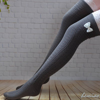 Lace and bow  thigh high  socks,  long stockings, over the knee socks, lace long  socks ,girls leg warmers, grey ,black and brown socks.