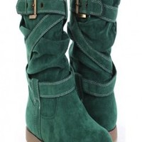 Green Faux Suede Stitched Strappy Mid Calf Comfy Boots