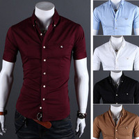 ZD35 New Mens Luxury Casual Slim Fit Stylish Short Sleeves Dress Shirts 5 Colors