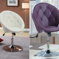Tufted Faux Leather Adjustable Height Swivel Chair