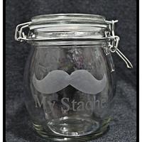 My Stache Medium Sandblasted Glass Canister