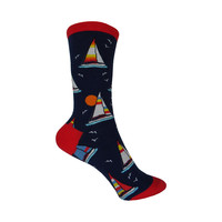Sailboats Crew Socks in Navy