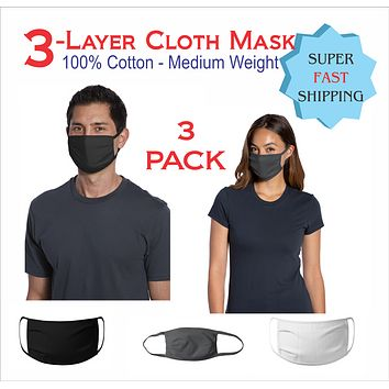3 Pack Washable Jersey Cotton Face Mask