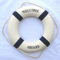 """Welcome Aboard Cloth Life Ring Navy Accent Nautical Decor 13.5"""" New - Decoration Only"""