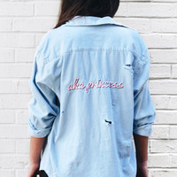 AKA Princess Destroyed Denim Shirt