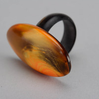 """Ring made of cow horn """"Amber"""""""