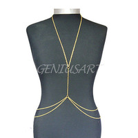 Gold Link Unique Ladies Bikini Beach Crossover Belly Body Chain Necklace Jewelry