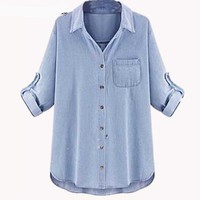 Woman Denim Blouses Feminine Jeans High Street Pocket Jean Shirt