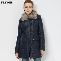 Women's Pigskin real leather jacket Genuine Leather trench coat jacket overcoat women outwear with fur collar detachable
