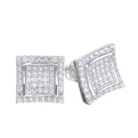 Jewelry Kay style Men's Iced Out 14k G/S Plated Micro Pave Block Caved Screw Back Earrings SHS 606