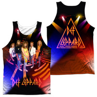 DEF LEPPARD/ON STAGE (FRONT/BACK PRINT)-ADULT 100% POLY TANK TOP-WHITE