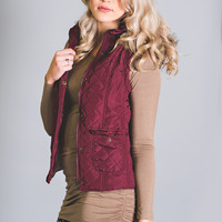 In The Zone Quilted Fur Hood Vest