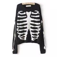 Black Skeleton Print Sweater