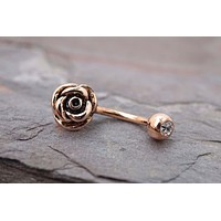 Rose Gold Rose Flower Daith Earring Rook Piercing
