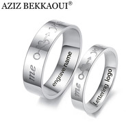 Couple Engraved Rings Wedding Rings For Lovers You & Me Letters Rings 316L Stainless Steel Named Engagement Promise Jewelry