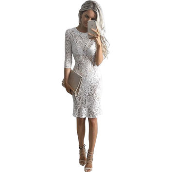 2016 Autumn Dresses Women white Lace Dresses Body Package Hip Sexy Dress