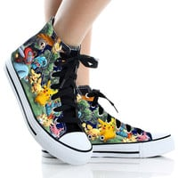 Pikachu Hand Painted Shoes Poket Monsters,High Top,canvas shoes,Painted Shoes,Special Christmas Gift,Birthday gift,Men Shoes,Women Shoes