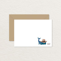 Howdy Watercolor Cowboy Whale 4 Bar Printable Note Card / Printable Stationery