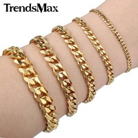 Trendsmax Mens Bracelet Stainless Steel Gold Color Curb Cuban Link Chain Jewelry KBM04