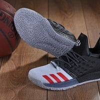 DCCK A152 Adidas James Harden Vol.2 Boost Training Basketball Shoes Grey Black Red