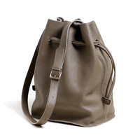 zita-- leather bucket bag drawstring shoulder purse