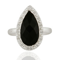 Designer Sterling Silver Onyx Black And White Zircon Statement Fashion Ring