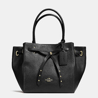 Turnlock Tie Small Tote in Refined Pebble Leather