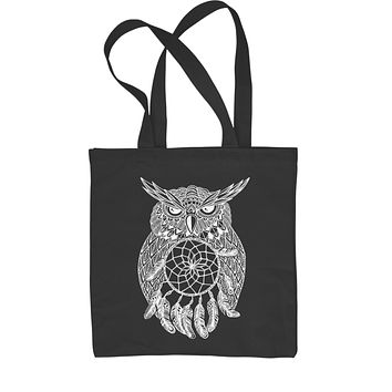 White Owl Dreamcatcher Shopping Tote Bag